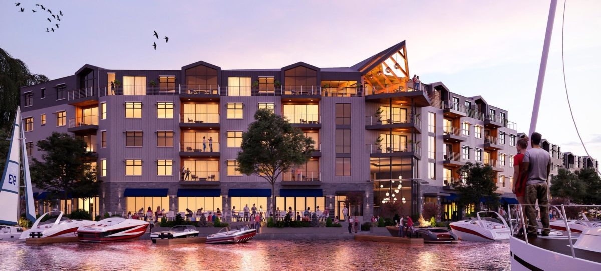 Architectural rendering of City Harbor Mixed-use Waterfront Development showing luxury apartments, restaurants, and waterfront promenade.