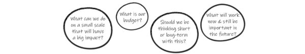 What can we do on a small scale that will have a big impact? What is our budget? Should we be thinking short or long-term? What will work now & still be important & unobtrusive in the future?