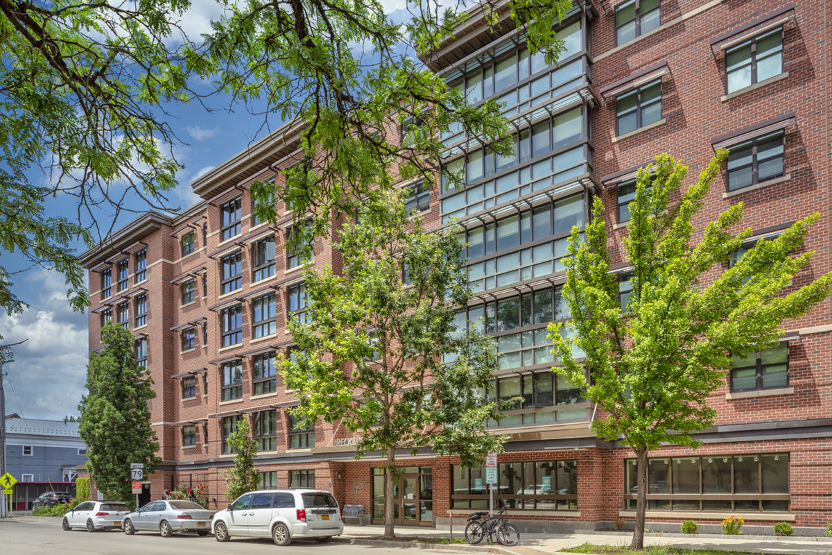 A photo of INHS Breckenridge Place. A LEED Platinum affordable housing apartment building in downtown Ithaca.
