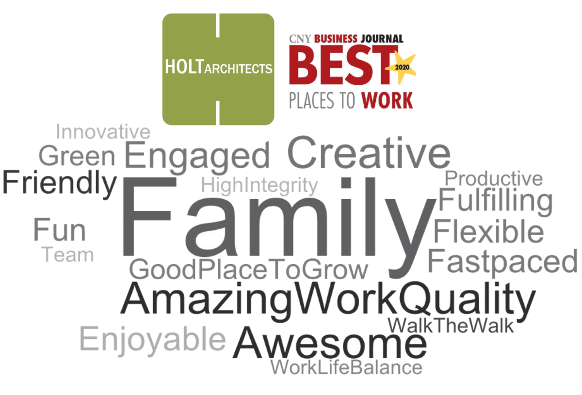 HOLT's Best Places to Work Word Cloud that shows why employees love working at HOLT.