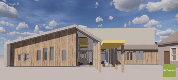 Exterior rendering of Coddington Road Community Center addition and renovation project