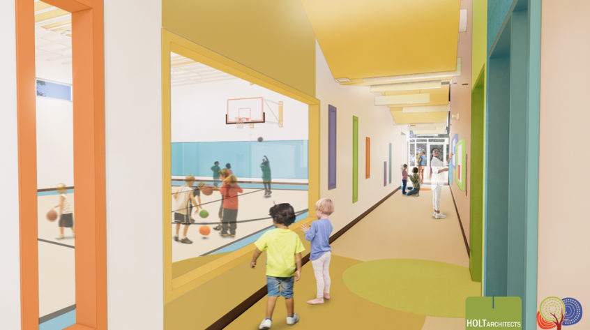 Computer rendering of Coddington Road Community Center's new youth gymnasium