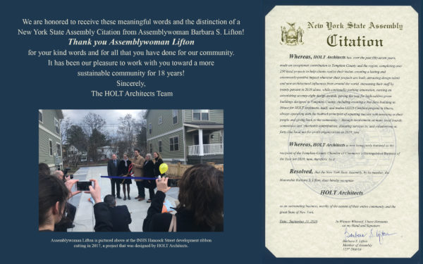 Image showing a Citation that HOLT just received from Assemblywoman Barbara Lifton of the 125th District in New York State.